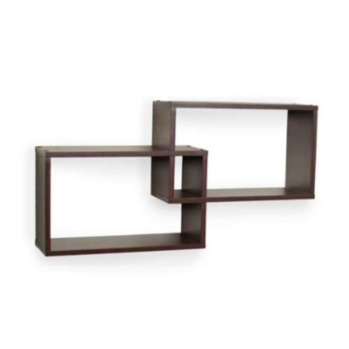 Danya B Intersecting Walnut Rectangular Shelf - Set of 2