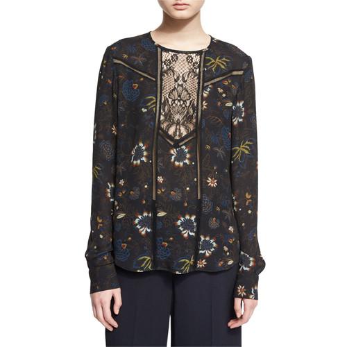 A.L.C. Noemi Long-Sleeve Floral Silk Top, Black/Multicolor