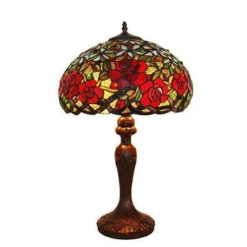 Amora Lighting 24 in. Tiffany Style Red Roses Table Lamp