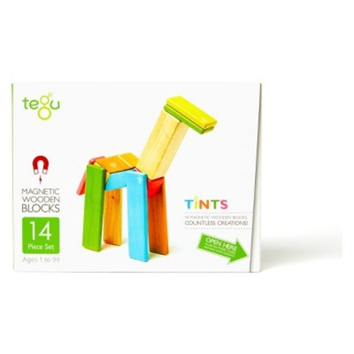 14 Piece Tegu Magnetic Wooden Block Set, Tints [Tints, 14 Piece Sets]