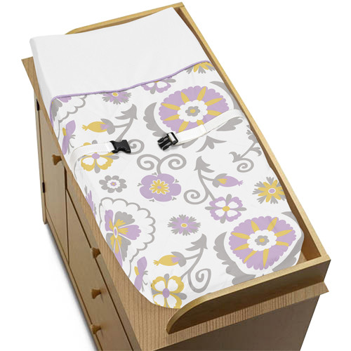 Sweet Jojo Designs Lavender and White Suzanna Collection Changing Pad Cover
