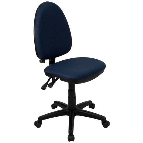 Flash Furniture Mid-Back Navy Blue Fabric Multifunction Swivel Task Chair with Adjustable Lumbar Support [Navy Blue]
