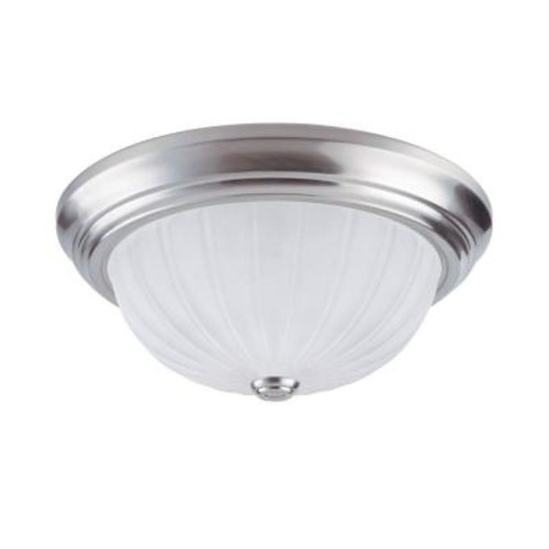 Westinghouse 2-Light Brushed Nickel Interior Ceiling Flushmount with Frosted Glass