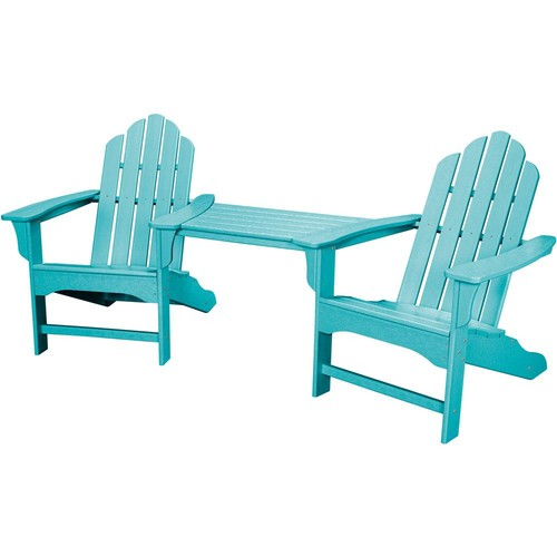 Hanover Rio Aruba Blue 3-Piece All-Weather Plastic Patio Lounge Adirondack Chair Set