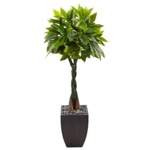 Nearly Natural 5-Foot Money Tree in Slate Planter