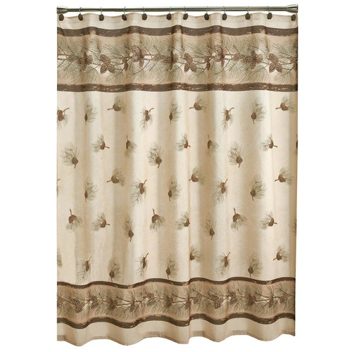 Saturday Knight 70 in. Pinehaven Fabric Shower Curtain