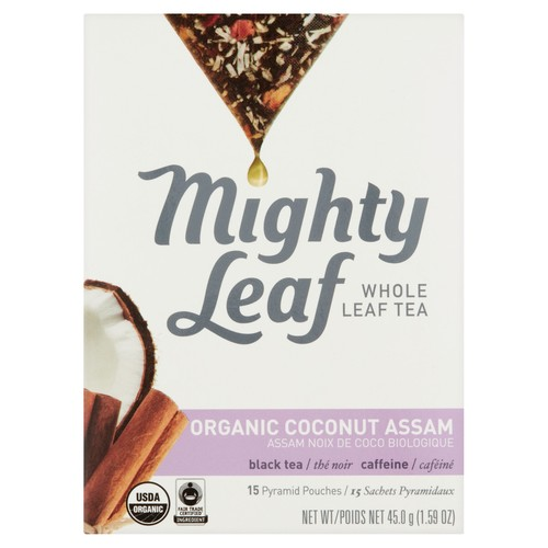 Mighty Leaf Organic Coconut Assam Whole Leaf Tea 15 Pyramid Pouches, 1.59 oz