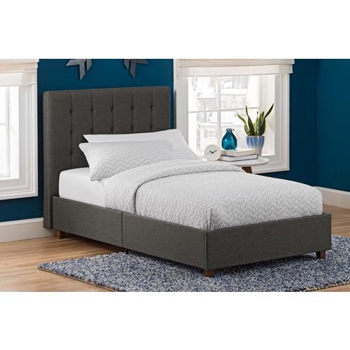 Dorel Emily Grey Linen Twin Upholstered Bed