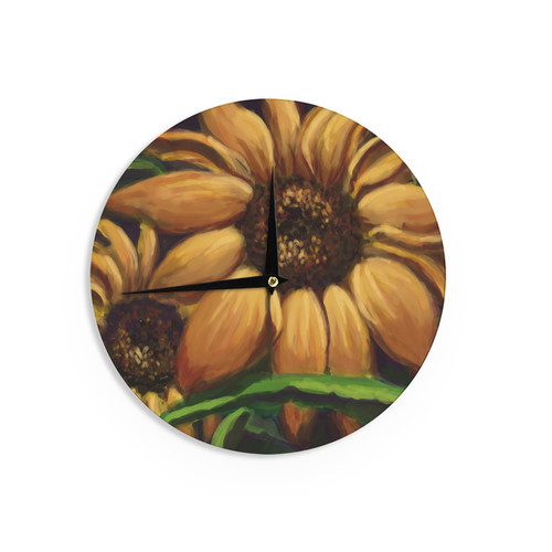 KESS InHouse Cyndi Steen 'Sunflower Days' Yellow Floral Wall Clock