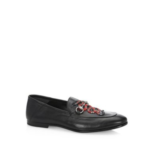 Brixton Snake Foldable Leather Loafers