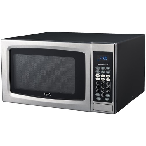 Oster - 1.3 Cu. Ft. Mid-Size Microwave - Black/stainless steel
