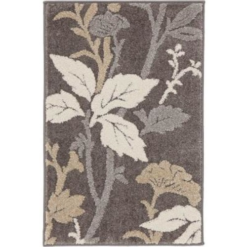 Home Decorators Collection Blooming Flowers Gray 2 ft. x 3 ft. Scatter Rug