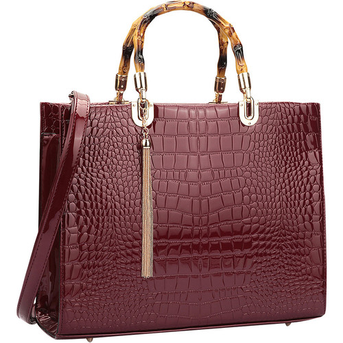 Dasein Wooden Handle Croco Satchel