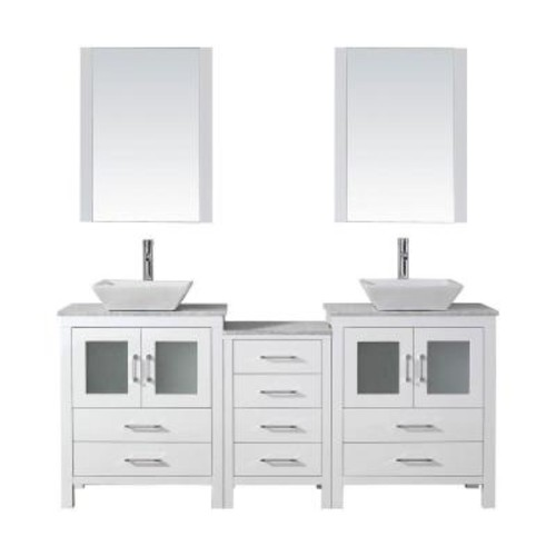 Virtu USA Dior 66 in. W x 18.3 in. D Vanity in White with Marble Vanity Top in Carrara White with White Basin and Mirror