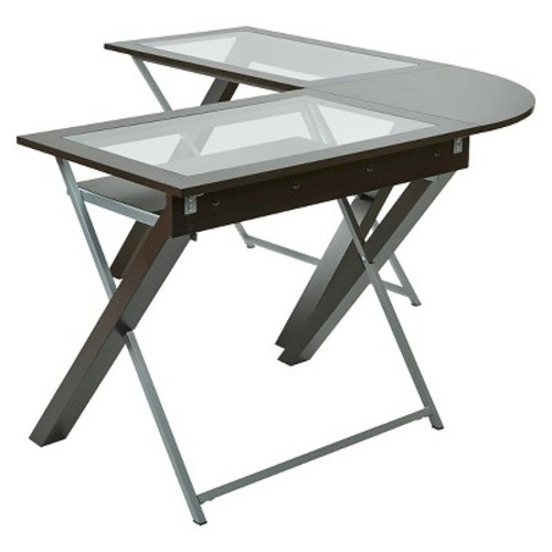 L-Shaped Computer Desk with Glass Top - Office Star