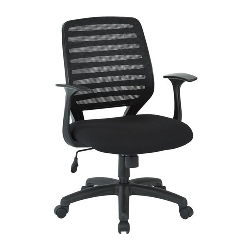 Office Star - Office Star Work Smart Screen Back Task Chair with T Arms in Black - Black