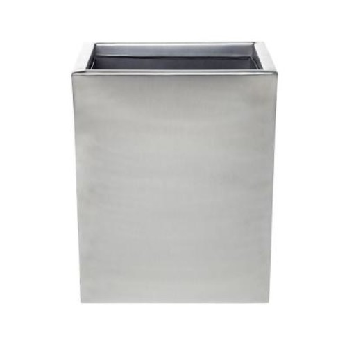 Roselli Trading Company Modern Satin 10 in. Wastebasket in Stainless Steel