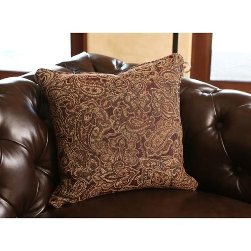 Abbyson Carmela Dark Brown Top Grain Leather Chesterfield Armchair
