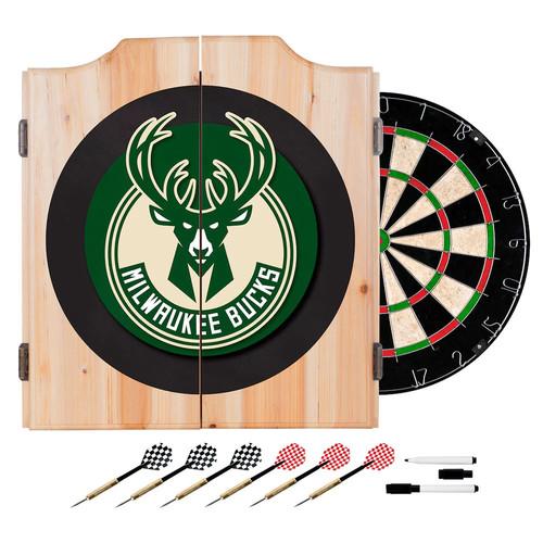 Milwaukee Bucks NBA Wood Dart Cabinet Set