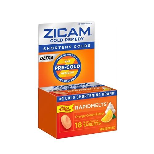 Zicam Cold Remedy, Ultra, Quick Dissolve Tablets, Orange Cream Flavor, 18 tablets
