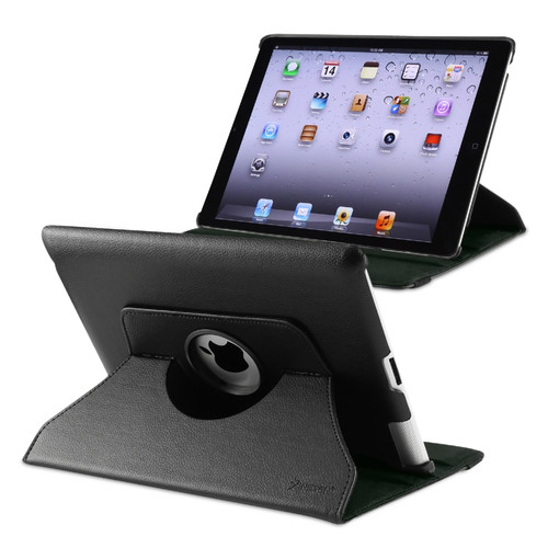 Insten 1120168 Swivel Stand Folio Flip Leather Case Cover Compatible With Apple iPad 2/3/4, Black