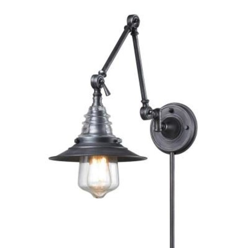 Titan Lighting Insulator Glass 1-Light Weathered Zinc Wall-Mount Swing Arm Sconce