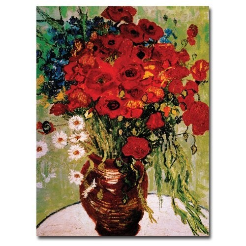Daisies and Poppies by Vincent van Gogh, 14x19-Inch Canvas Wall Art [14 by 19-Inch]