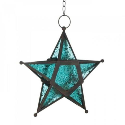 Blue Star Candle Lantern
