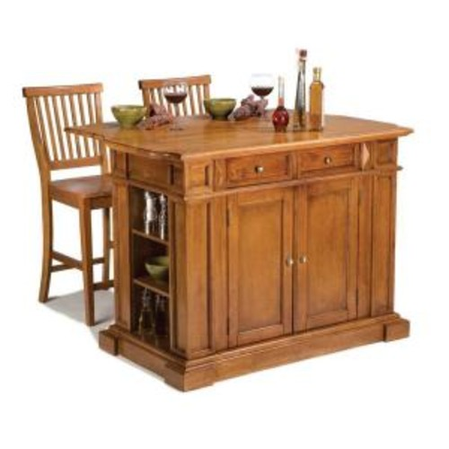 Home Styles Distressed Oak Top Kitchen Island and Two Barstools