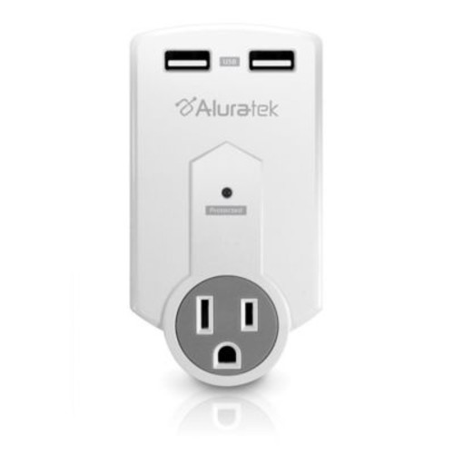 Aluratek Mini 1-Outlet Surge Protector & Dual USB Charging Station in White