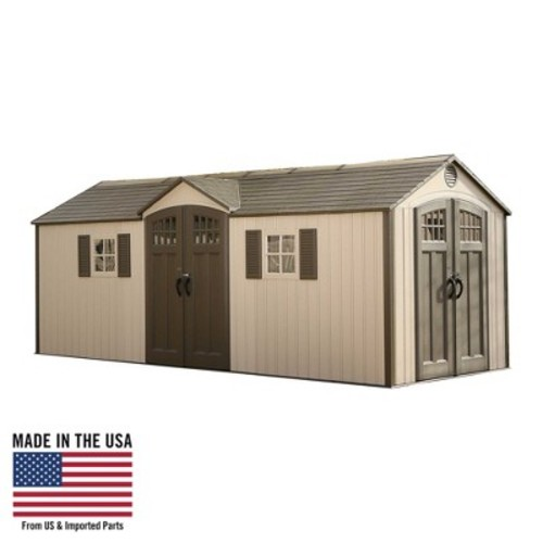Lifetime 20' x 8' Outdoor Storage Shed - Gray & White