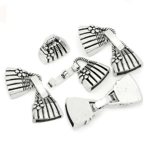 2 Sets of Hook Clasp Handbag Pattern Antique Silver 3.1cm