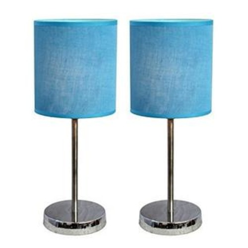 Simple Designs Home Simple Designs Chrome Mini Basic Table Lamp with Fabric Shade 2 Pack Set, Blue
