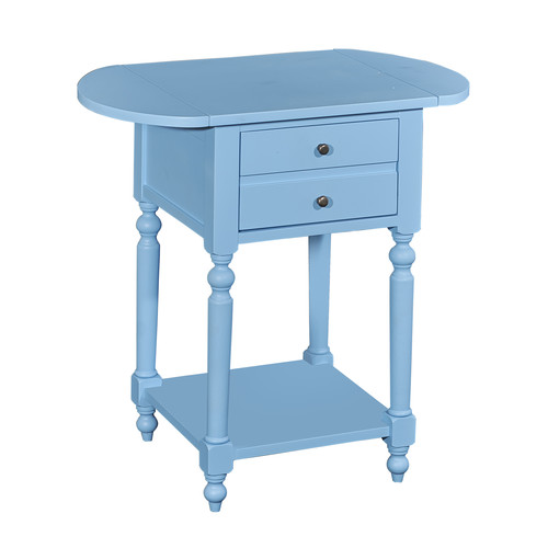 L Powell Shiloh Ocean Blue Table with Dropleaf
