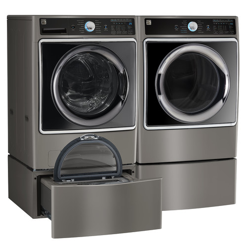 Kenmore Elite 81963 9.0 cu. ft. Front Control Electric Dryer w/ Accela Steam - Metallic Silver