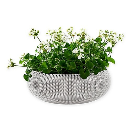 Keter Cozies Knit Round Resin Indoor/Outdoor Planter in Oasis White