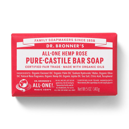 Dr. Bronner's Magic Soaps All-One Hemp Rose Pure-Castile Bar Soap