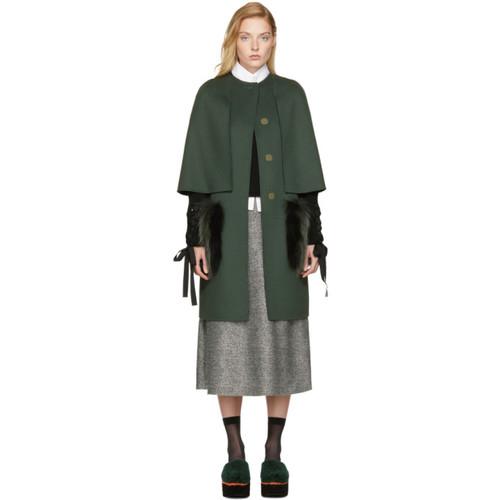 FENDI Green Long Fur Pocket Cape Coat