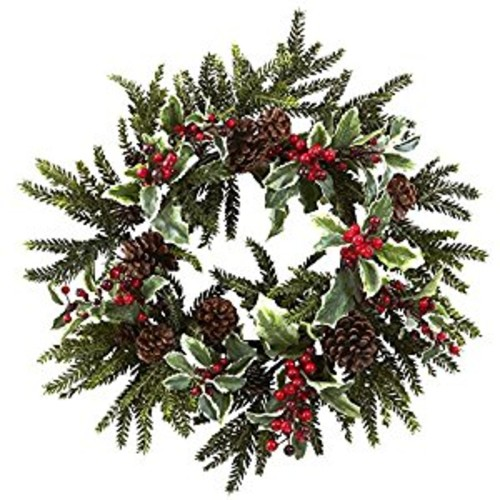 Nearly Natural - 4941 - 22 Inch Holly Berry Wreath