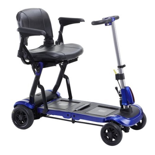 Drive Medical ZooMe Flex Ultra Compact Folding Travel 4 Wheel Scooter, Blue with Peace of Mind Protection Included