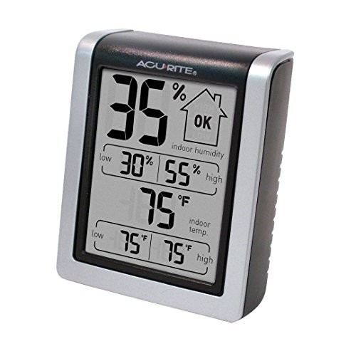 AcuRite 00613 Humidity Monitor with Indoor Thermometer, Digital Hygrometer and Humidity Gauge Indicator [Black/Silver]