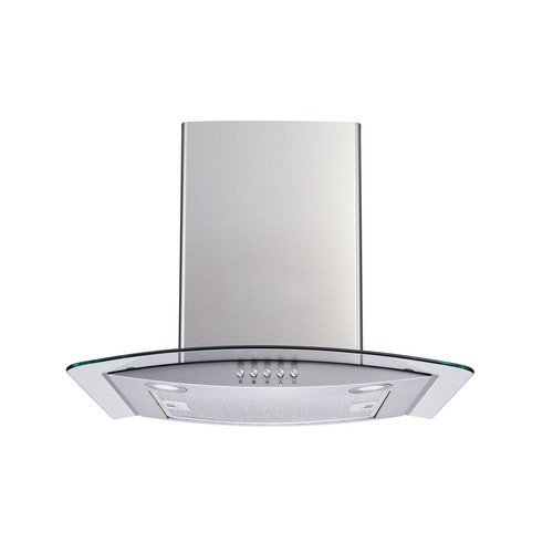 Winflo 30 in. Convertible Wall Mount Range Hood in Stainless Steel and Glass with LEDs, Aluminum Filters and Push Button