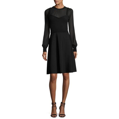 VALENTINO Chiffon-Sleeve Knit Dress