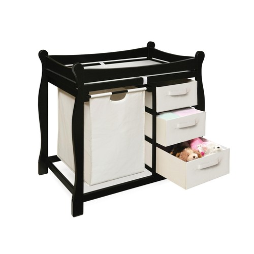 Badger Basket Sleigh Style Changing Table with Hamper/3 Baskets, Cherry [Black]