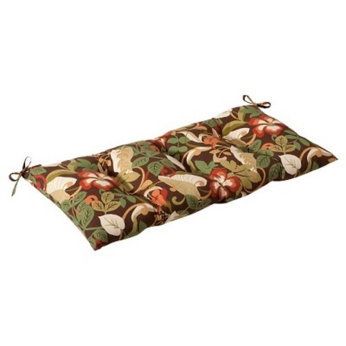 Outdoor Tufted Bench/Loveseat/Swing Cushion - Brown/Green Floral
