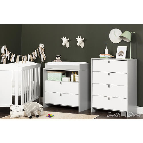 South Shore Cookie Changing Table - Soft Gray and Pure White