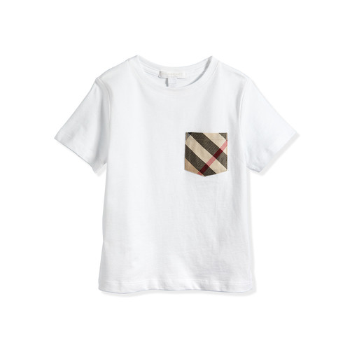 BURBERRY Short-Sleeve Jersey Tee W/ Pocket, White, 4Y-14Y