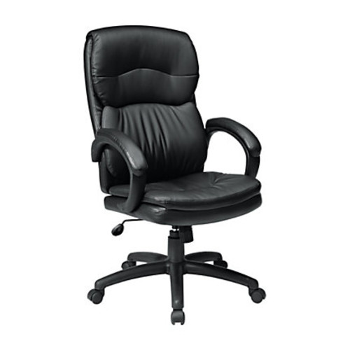 Office Star EC9230-EC3 Work Smart Eco Leather High Back Executive Chair, Black