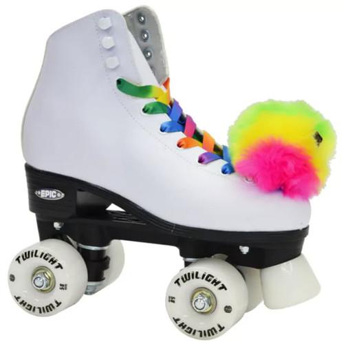 Epic Allure Twilight Rainbow LED Light UP White Nylon High-top Quad Roller Skates [option : Adult 05]