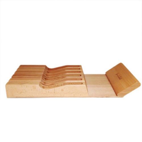 Organic In-drawer Bamboo Knife Block Organizer Storage Block - brown